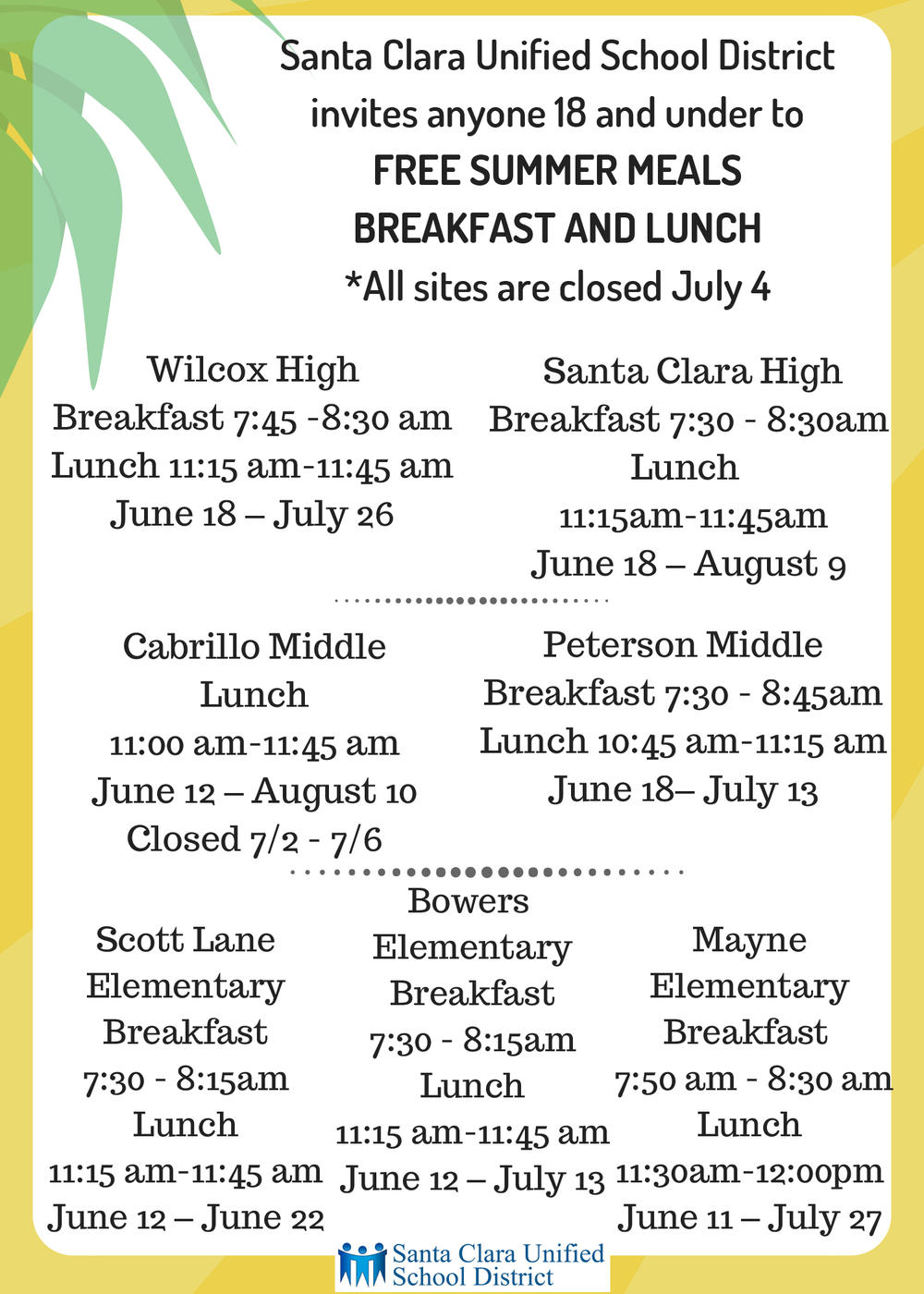 Free Summer Meals 2018
