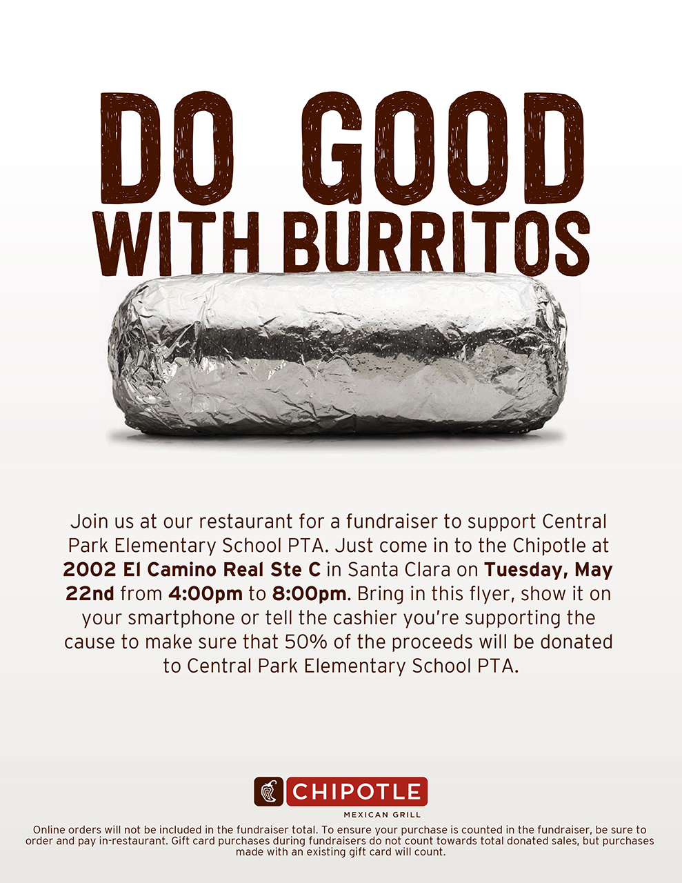 Chipotle Fundraiser Tuesday, May 22nd.